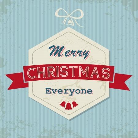 hollidays: blue retro christmas card with hexagonal ball. christmas concept Illustration