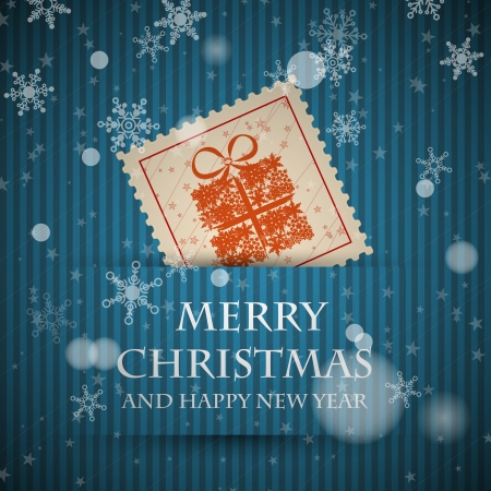 blue stamp christmas card with falling snowflakes. christmas concept Vector