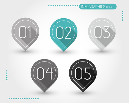 five flat turquoise bubbles with numbers. infographic concept. Vector
