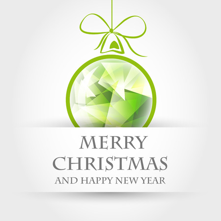 crystalline: green crystalline christmas ball with ribbon. christmas concept