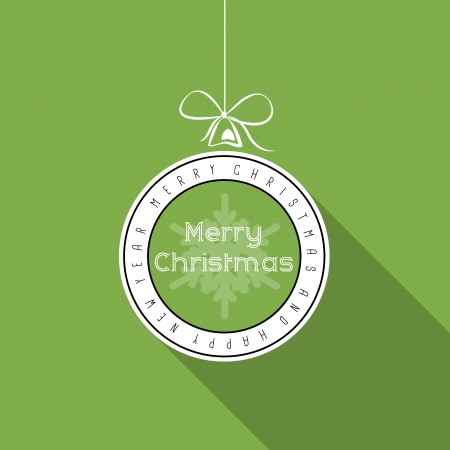 hollidays: green flat typographic transparent christmas ball with snowflake. christmas concept