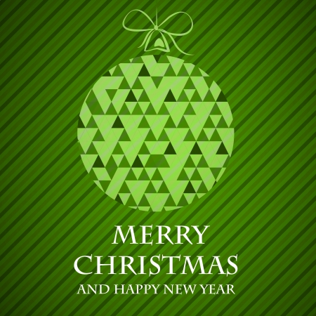 green striped christmas card triangular ball. christmas concept Vector
