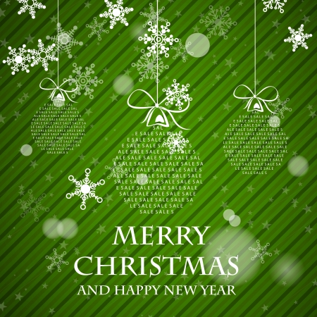 green striped christmas card with falling snowflakes. christmas concept Vector
