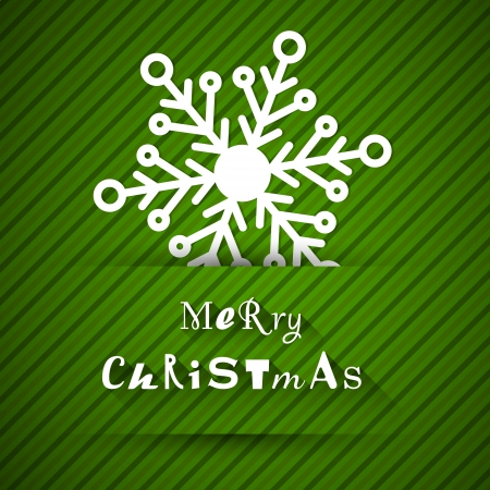 christams: green striped christams card with new snowflake. christmas concept