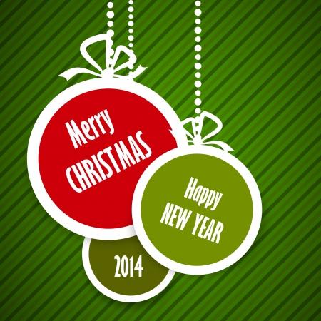 christmas ball: green striped christmas card with red ball. christmas concept