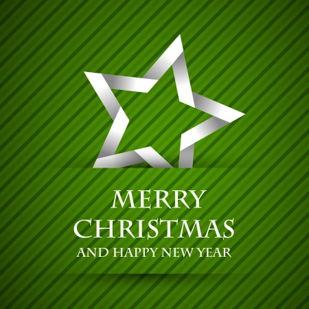 christamas: green striped christamas card with star. christmas concept Illustration