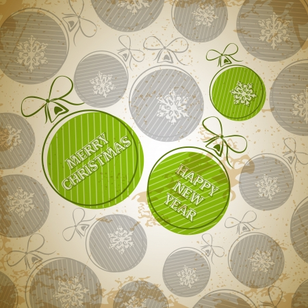 green vintage christmas card with three. christmas concept Vector