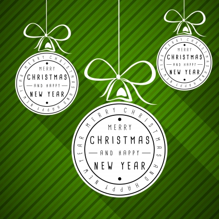 christma: oblique green christma striped card with flat balls. christmas concept