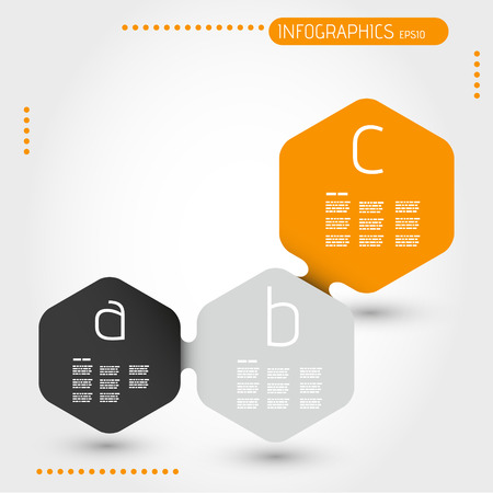 orage hexagonal infographic template with three steps. infographic concept. Vector