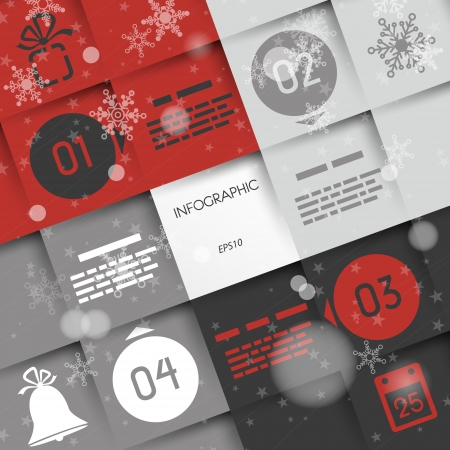 red big square christmas infographic four options with ring and icons. infographic concept. Vector