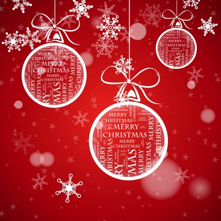 red christmas card with balls and falling snowflakes. christmas concept Vector