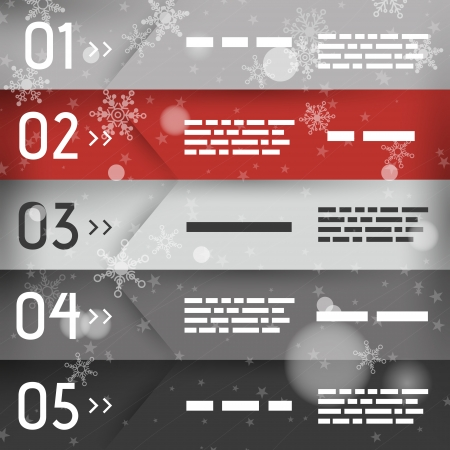 red christmas infographic five oblique options. infographic concept. Vector