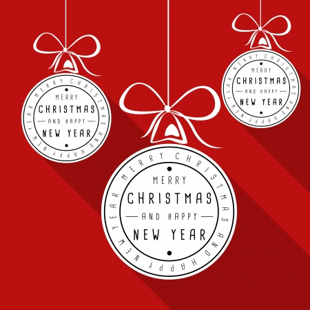 hollidays: red flat typographic christmas card. christmas concept Illustration
