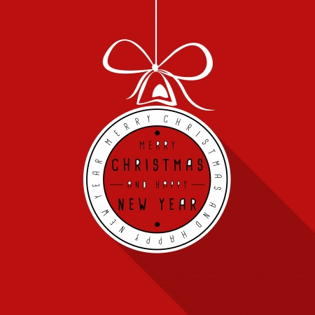 hollidays: red flat typograhic transparent christmas card. christmas concept