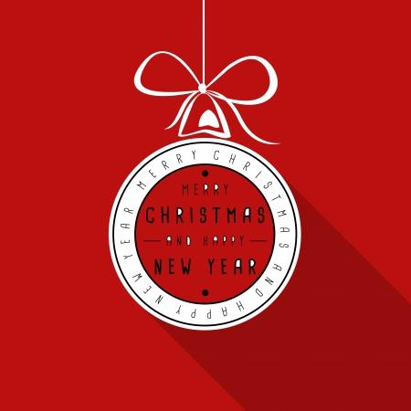 hollidays: red flat typograhic transparent christmas card. christmas concept