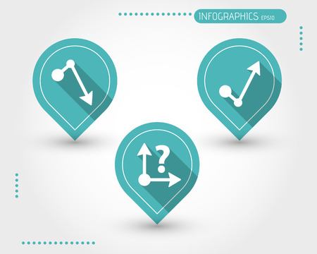 economical: three turquoise flat economical icons. infographic concept.