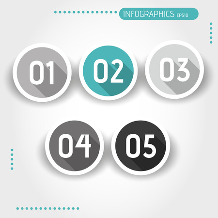turquoise flat ring buttons with numbers. infographic concept. Vector