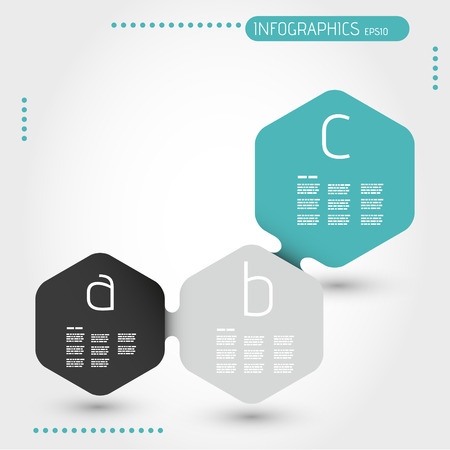 turquoise hexagonal infographic template with three steps. infographic concept. Illustration