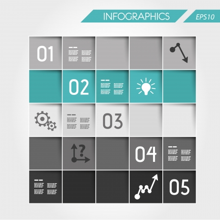 turquoise infographic square from squares. infographic concept. Illustration