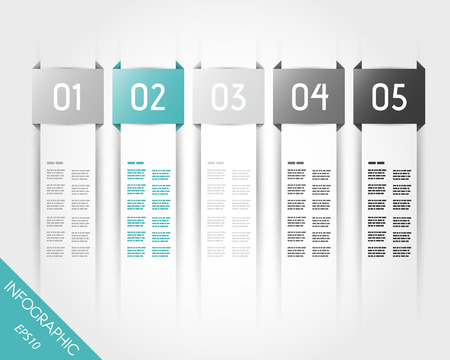 turquoise transparent five rectangular infographic stickers. infographic concept.
