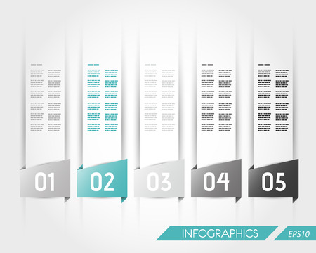 turquoise transparent five trapezoidal infographic stickers. infographic concept. Vector
