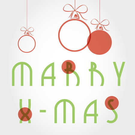 hollidays: typographic xmas card with balls. christmas concept