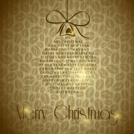 vintage christmas card with ball and coffee. christmas concept Vector