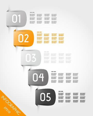 cinco autocolantes laranja. conceito infogr