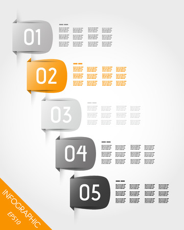 five orange stickers. infographic concept.