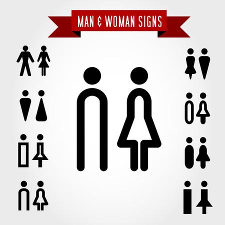 man en vrouw tekenen, concept van de symbolen