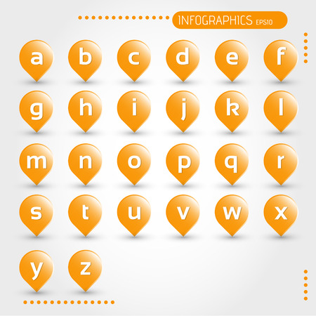 orange bubbles with letters. infographic concept. Vector