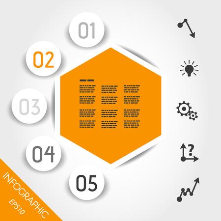 economical: orange timeline with big globe units. infographic concept.