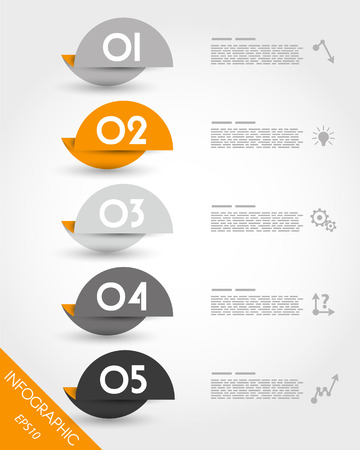 orange origami round stickers. infographic concept.