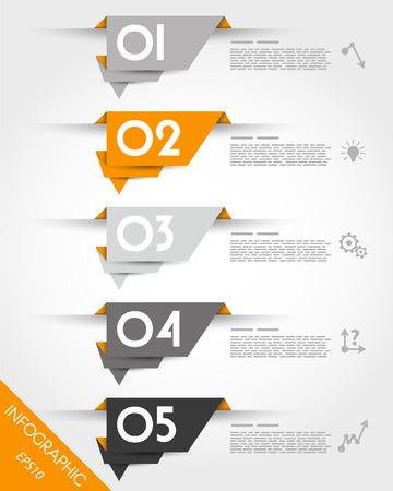 prospectus: orange origami stickers. infographic concept. Illustration