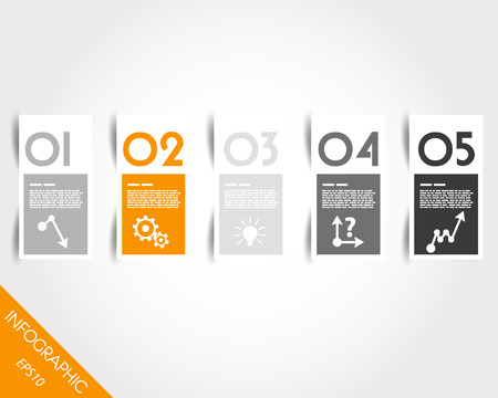 orange stickers with numbers and shadow. infographic concept.