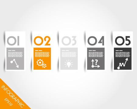 oranje stickers met cijfers en schaduw. infographic concept.