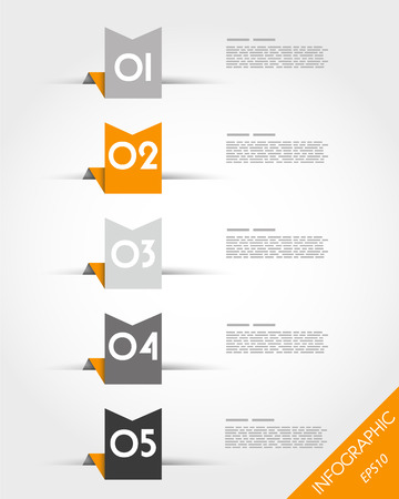 nameplate: orange paper origami ribbons. infographic concept.