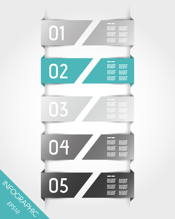 five turquoise half stickers. infographic concept.