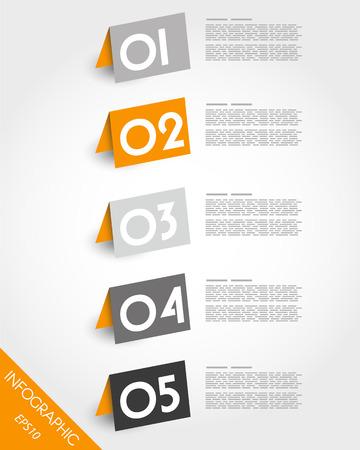 oblique: orange origami oblique standing stickers. infographic concept.
