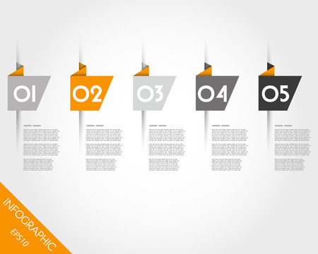 orange origami oblique stickers. infographic concept. Illustration
