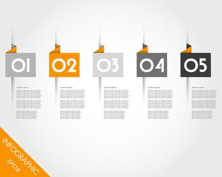 prospectus: orange origami square stickers. infographic concept.
