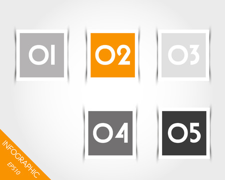nameplate: orange square stickers with numbers and shadow. infographic concept.