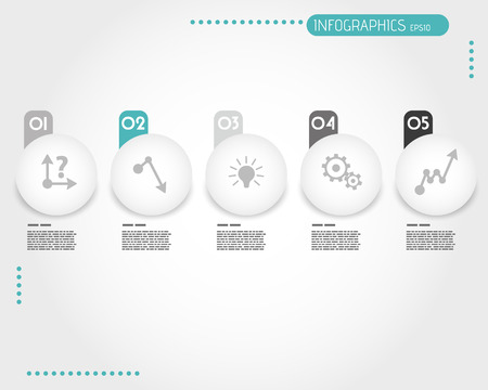 prospectus: turquoise infographic balls with stickers