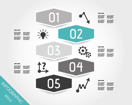 turquoise infographic zeshoekige sticker