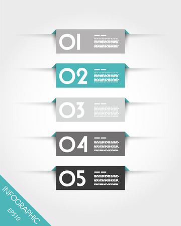 turquoise rectangular stickers with shadows Illustration