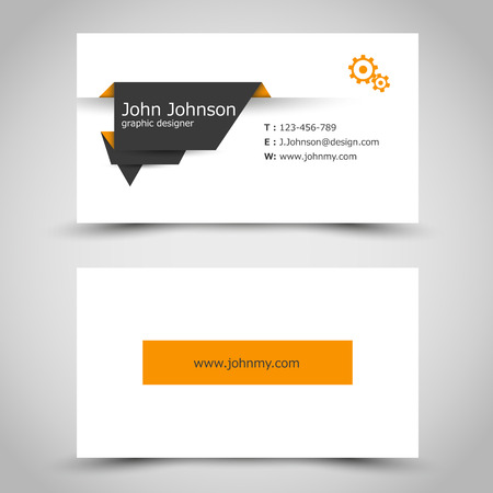 flyer layout: business card with dark paper sticker. office concept