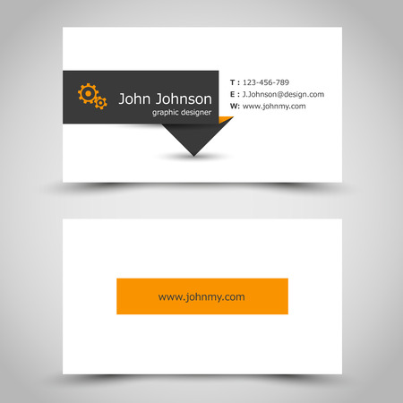 flyer layout: business card with dark sticker. office concept