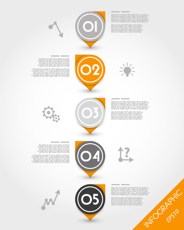 orange globe reversed stickers. infographic concept. Stock Illustratie