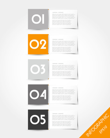 packaged: orange packaged square labels. infographic concept.