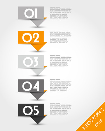 orange paper origami long stickers. infographic concept.